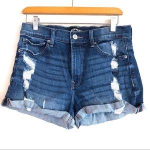 Express Shortie Denim High Rise Shorts
